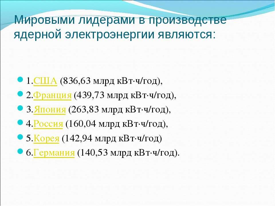 Мировыми лидерами в производстве ядерной электроэнергии являются: 1.США (836,...