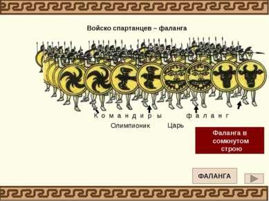 Вперед, о сыны отцов, граждан Мужами прославленной Спарты! Щит левой рукой вы...