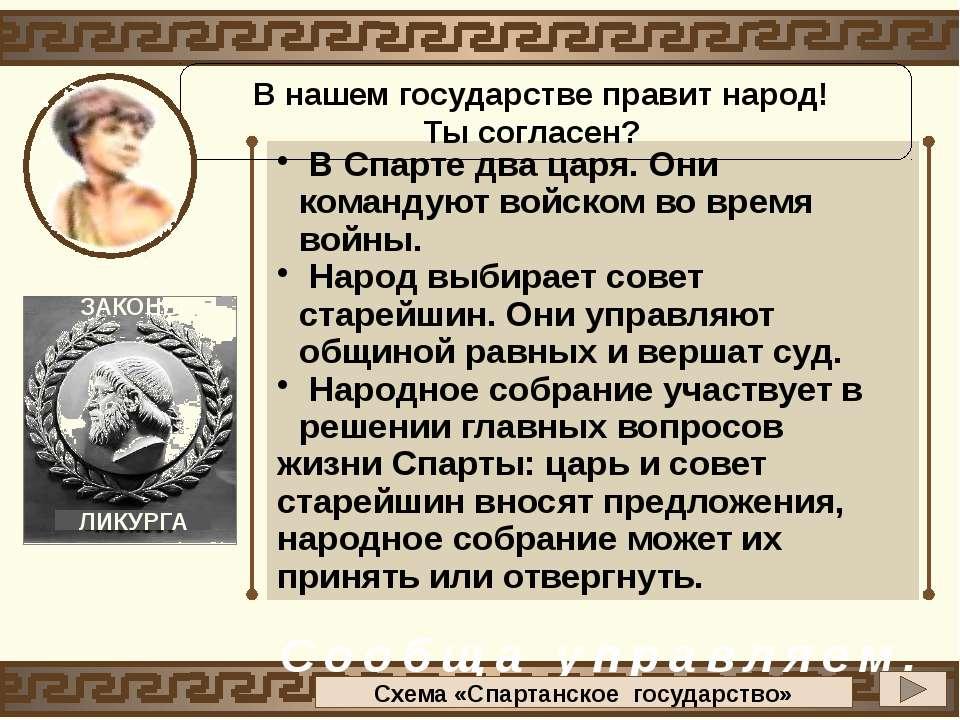 В Спарте два царя. Они командуют войском во время войны. Народ выбирает совет...