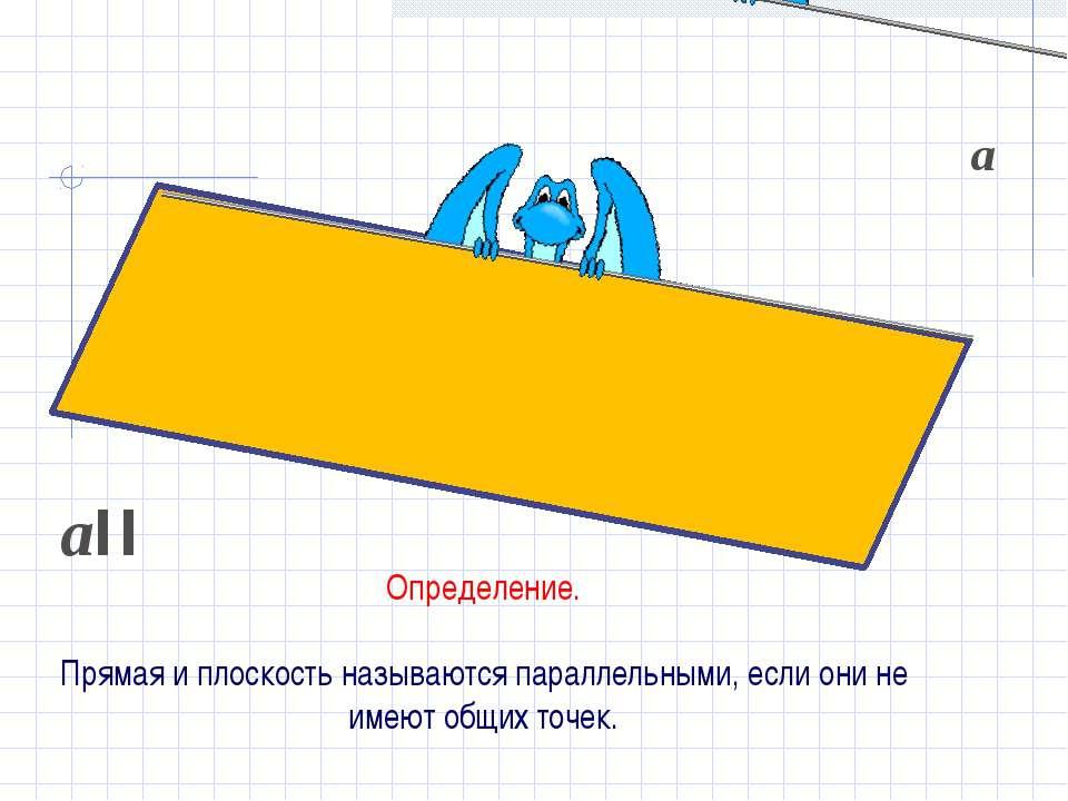 Определение. Прямая и плоскость называются параллельными, если они не имеют о...