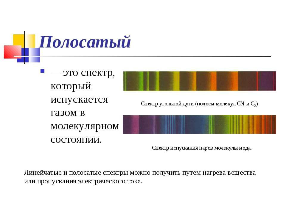 Полосатый — это спектр, который испускается газом в молекулярном состоянии. Л...