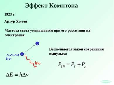 Эффект Комптона 1923 г. Артур Холли hv2 Частота света уменьшается при его рас...