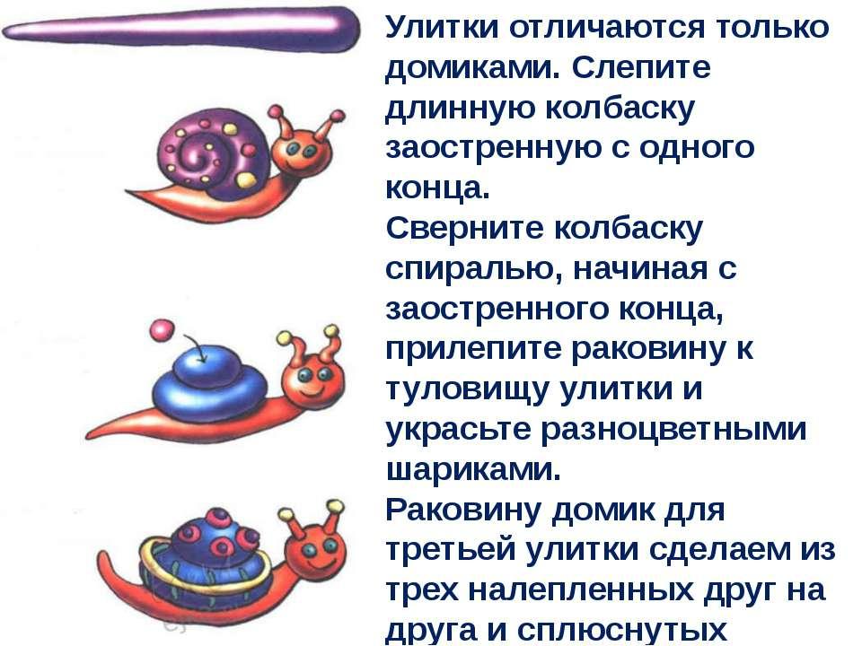 Улитки отличаются только домиками. Слепите длинную колбаску заостренную с одн...