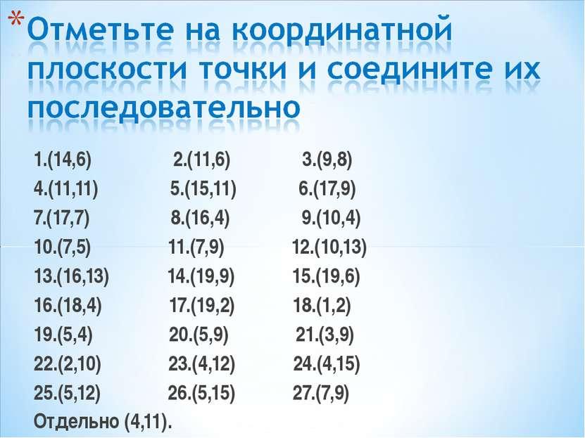 1.(14,6) 2.(11,6) 3.(9,8) 4.(11,11) 5.(15,11) 6.(17,9) 7.(17,7) 8.(16,4) 9.(1...