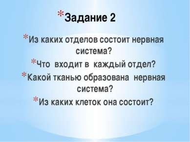 Задание 2 Из каких отделов состоит нервная система? Что входит в каждый отдел...