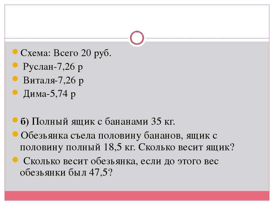 Схема: Всего 20 руб. Руслан-7,26 р Виталя-7,26 р Дима-5,74 р б) Полный ящик с...