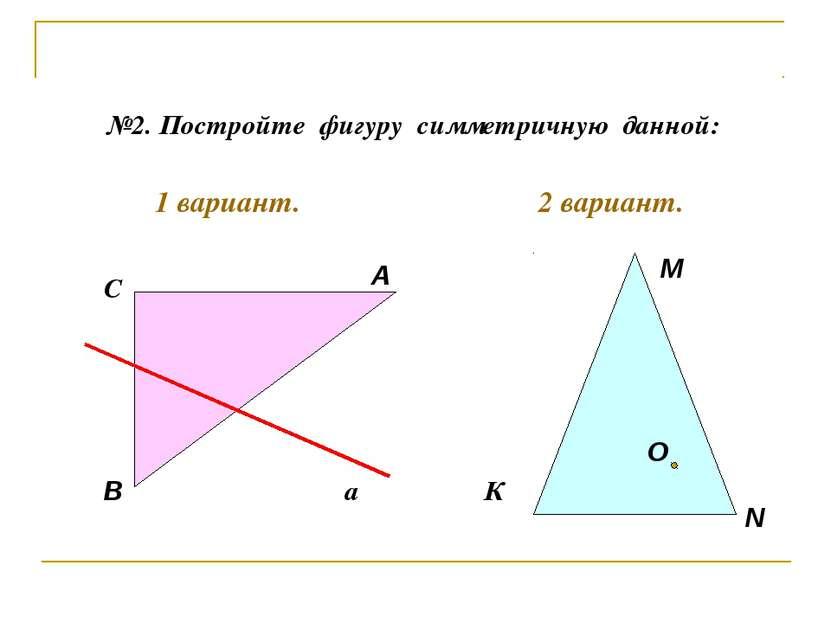 №2. Постройте фигуру симметричную данной: А В С К М N a О 1 вариант. 2 вариант.