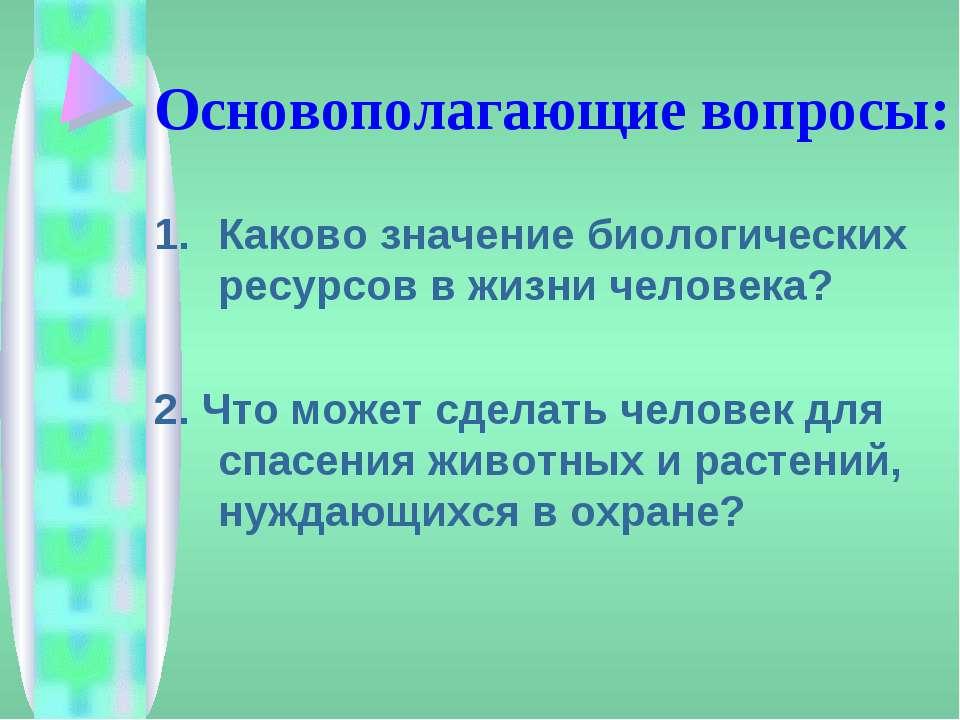 Основополагающие вопросы: Каково значение биологических ресурсов в жизни чело...