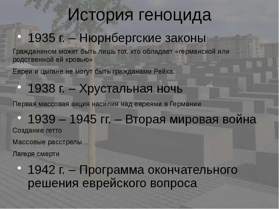 История геноцида 1935 г. – Нюрнбергские законы Гражданином может быть лишь то...