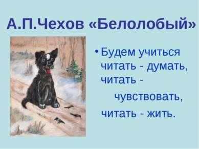А.П.Чехов «Белолобый» Будем учиться читать - думать, читать - чувствовать, чи...