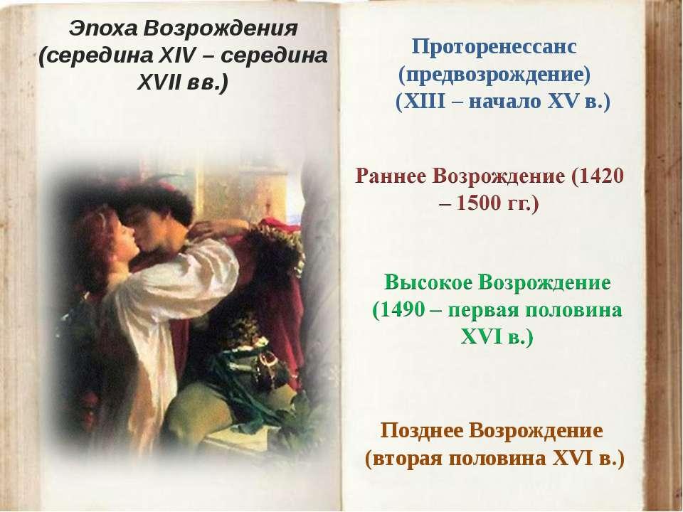 Эпоха Возрождения (середина XIV – середина XVII вв.) Проторенессанс (предвозр...