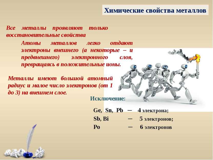 Химические свойства металлов Все металлы проявляют только восстановительные с...
