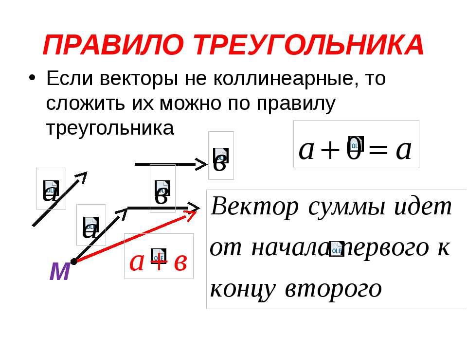 ПРАВИЛО ТРЕУГОЛЬНИКА Если векторы не коллинеарные, то сложить их можно по пра...