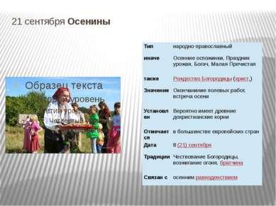 21 сентября Осенины Тип народно-православный иначе Осенниеоспожинки, Праздник...