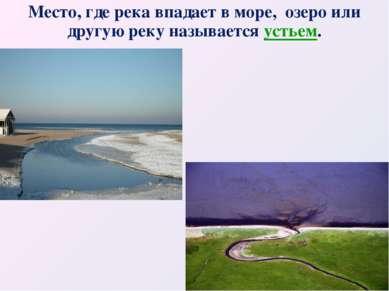 Место, где река впадает в море, озеро или другую реку называется устьем.