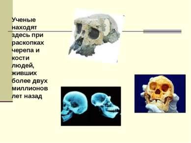 Ученые находят здесь при раскопках черепа и кости людей, живших более двух ми...