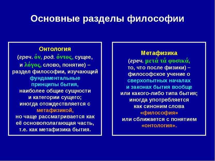 Основные разделы философии Онтология (греч. όν, род. όντος, сущее, и λόγος, с...