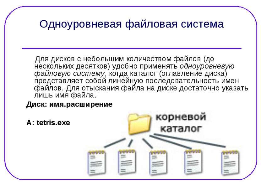 Одноуровневая файловая система Для дисков с небольшим количеством файлов (до ...