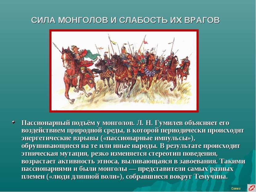 СИЛА МОНГОЛОВ И СЛАБОСТЬ ИХ ВРАГОВ Пассионарный подъём у монголов. Л. Н. Гуми...