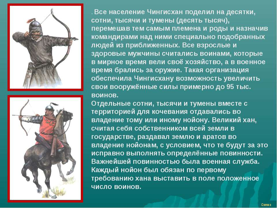 Схема . Все население Чингисхан поделил на десятки, сотни, тысячи и тумены (д...