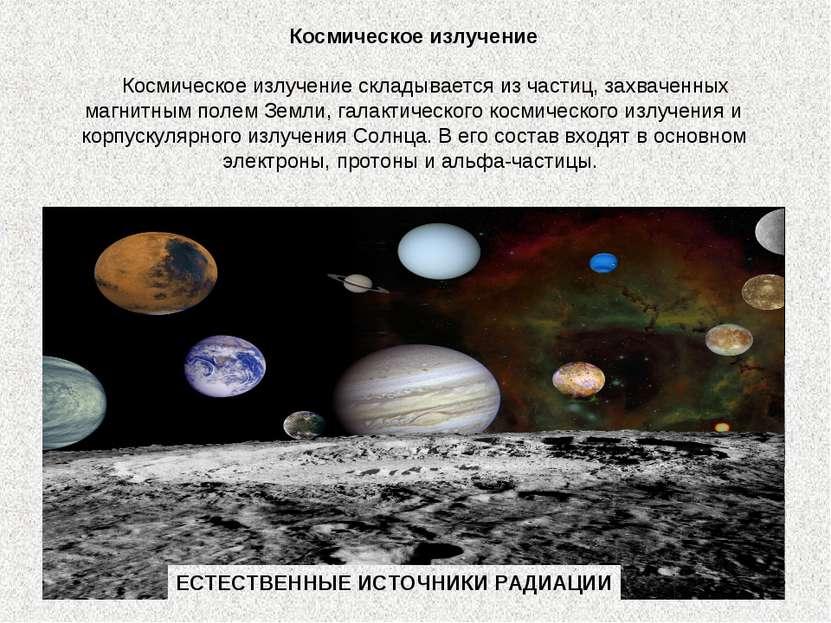 Космическое излучение  Космическое излучение складывается из частиц, захва...