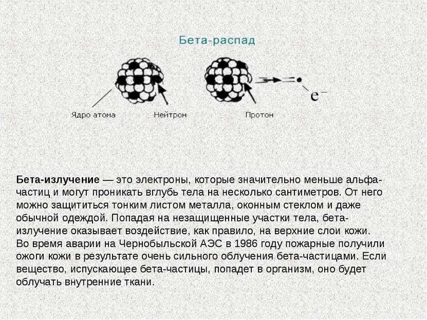 Бета-излучение— это электроны, которые значительно меньше альфа-частиц имог...