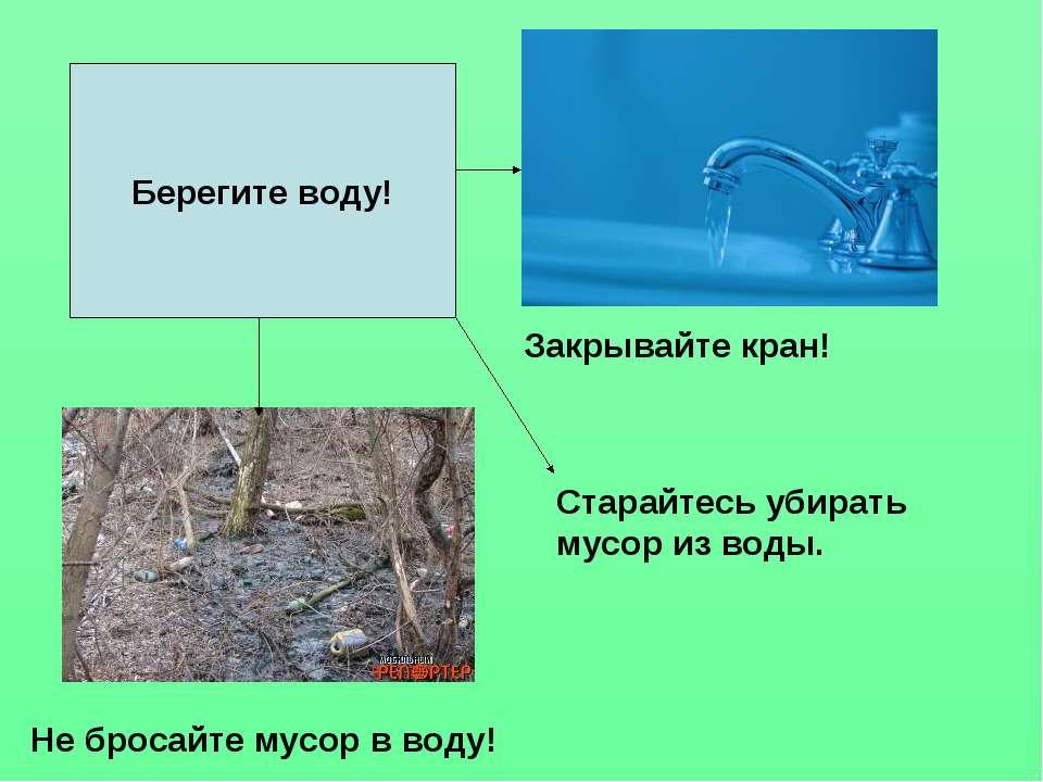 Берегите воду! Закрывайте кран! Не бросайте мусор в воду! Старайтесь убирать ...