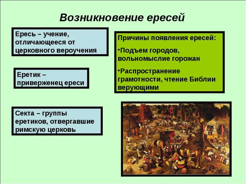 Возникновение ересей Ересь – учение, отличающееся от церковного вероучения Ер...