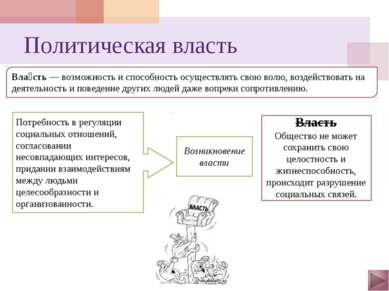 Разновидности власти По предназначению: судебная, законодательная и исполните...