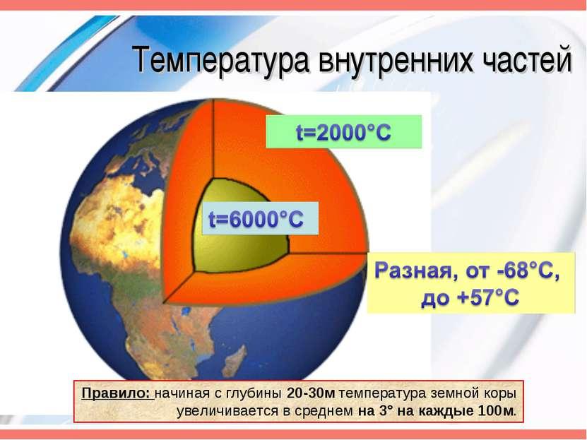 Температура внутренних частей Правило: начиная с глубины 20-30м температура з...