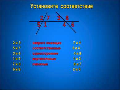 Установите соответствие 2 и 3 накрест лежащие 7 и 4 5 и 7 соответственные 5 и...