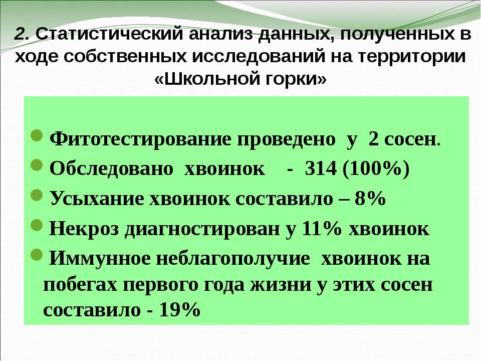 2. Статистический анализ данных, полученных в ходе собственных исследований н...