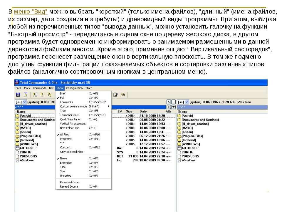"""В меню """"Вид"""" можно выбрать """"короткий"""" (только имена файлов), """"длинный"""" (имена..."""