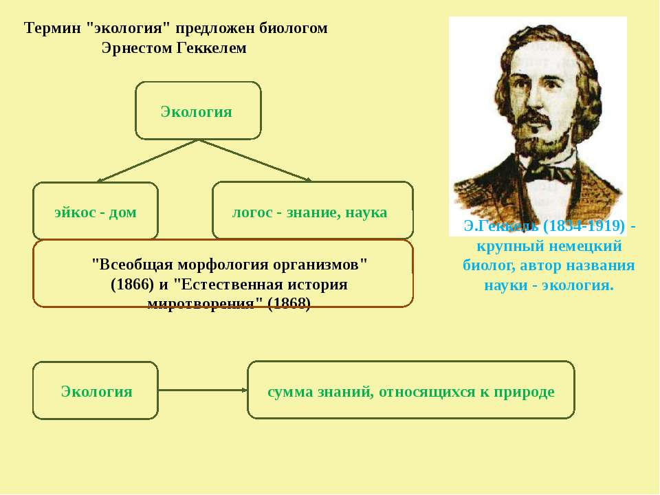 """Термин """"экология"""" предложен биологом Эрнестом Геккелем Э.Геккель(1834-1919) ..."""