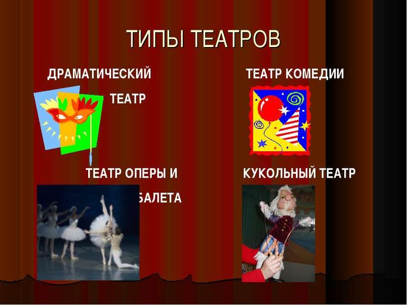 ТИПЫ ТЕАТРОВ КУКОЛЬНЫЙ ТЕАТР ДРАМАТИЧЕСКИЙ ТЕАТР ТЕАТР КОМЕДИИ ТЕАТР ОПЕРЫ И ...