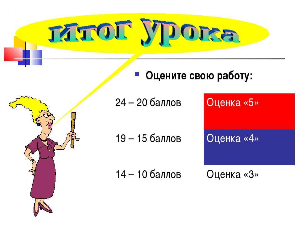 Оцените свою работу: 24 – 20 баллов Оценка «5» 19 – 15 баллов Оценка «4» 14 –...