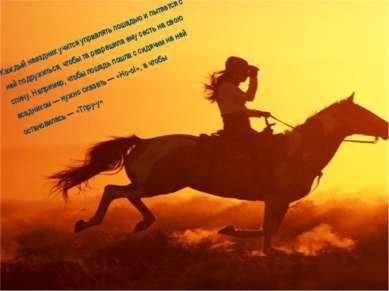 Каждый наездник учится управлять лошадью и пытается с ней подружиться, чтобы ...