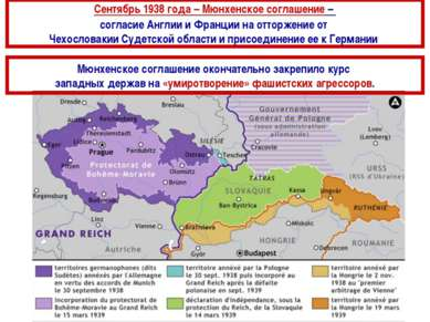 Сентябрь 1938 года – Мюнхенское соглашение – согласие Англии и Франции на отт...