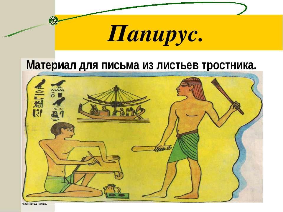 Папирус. Материал для письма из листьев тростника.