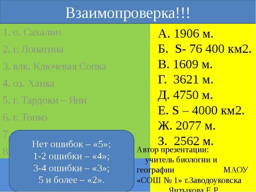 Географический диктант А. 1906 м. Б. S- 76 400 км2. В. 1609 м. Г. 3621 м. Д. ...