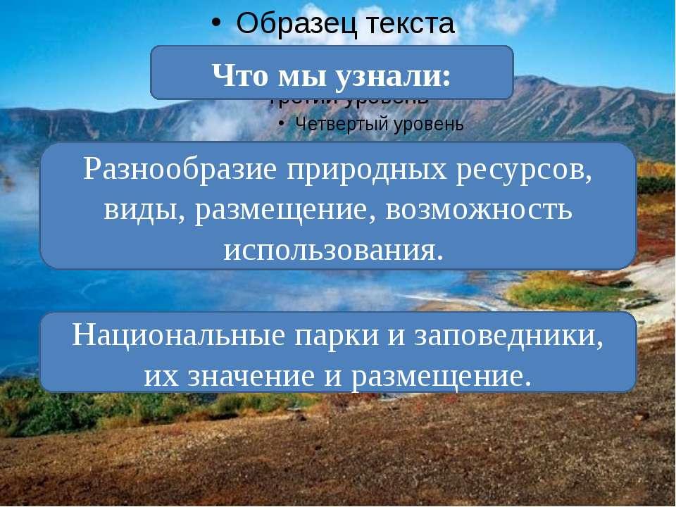 Разнообразие природных ресурсов, виды, размещение, возможность использования....