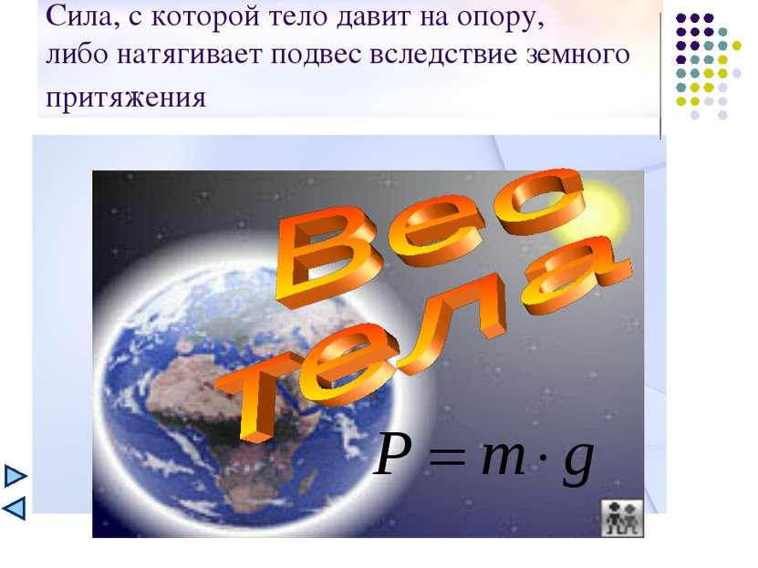 Сила, с которой тело давит на опору, либо натягивает подвес вследствие земног...