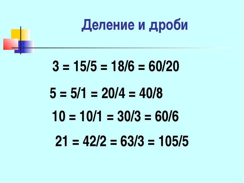 Деление и дроби 3 = 15/5 = 18/6 = 60/20 5 = 5/1 = 20/4 = 40/8 10 = 10/1 = 30/...