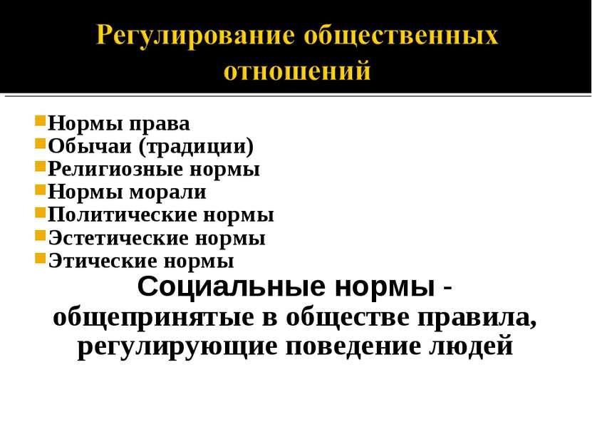 Нормы права Обычаи (традиции) Религиозные нормы Нормы морали Политические нор...