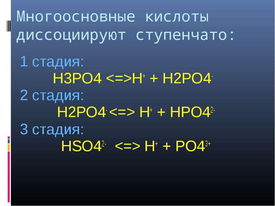Многоосновные кислоты диссоциируют ступенчато: 1 стадия: H3PO4 H+ + H2PO4- 2 ...