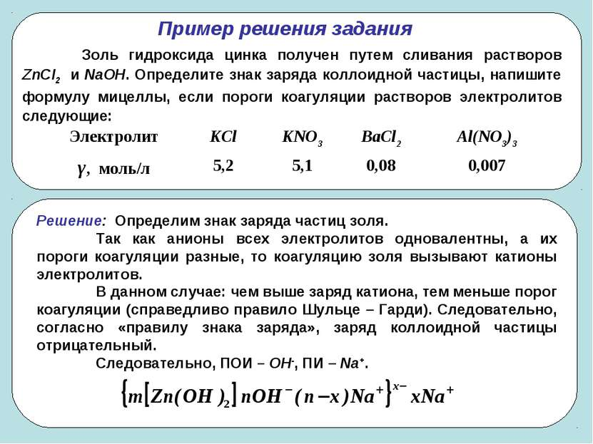 * Пример решения задания Золь гидроксида цинка получен путем сливания раствор...