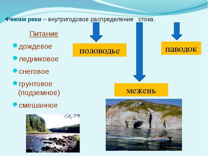 Режим реки – внутригодовое распределение стока. Питание дождевое ледниковое с...