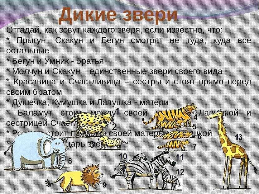 Дикие звери Отгадай, как зовут каждого зверя, если известно, что: * Прыгун, С...