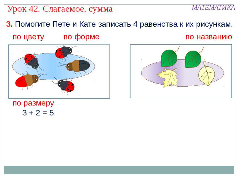 3. Помогите Пете и Кате записать 4 равенства к их рисункам. 3 + 2 = 5 по цвет...