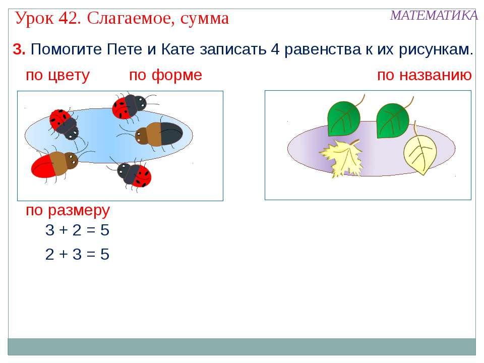 3. Помогите Пете и Кате записать 4 равенства к их рисункам. 2 + 3 = 5 3 + 2 =...